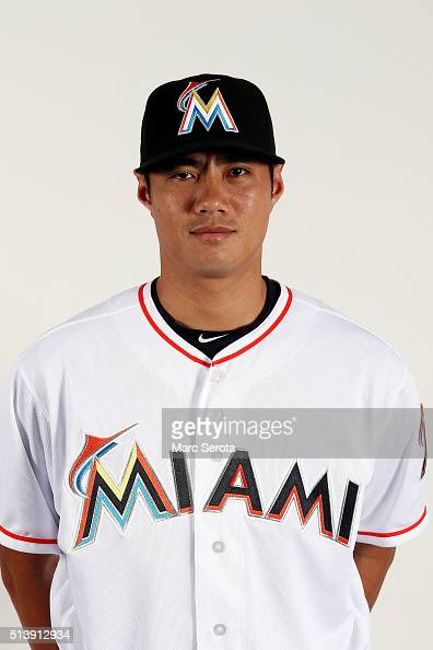 WeiYin Chen of the Miami Marlins poses for photos on media day at Roger Dean Stadium on February 24 2016 in Jupiter Florida
