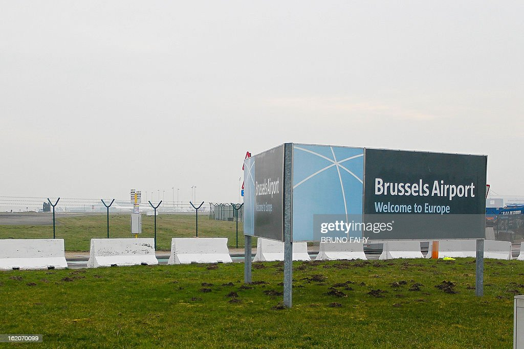 A welcom sign is pictured at Brussels international airport in Zaventem on February 19, 2013. Armed robbers have pulled off a spectacular heist at Brussels airport, making off with a haul of diamonds, Belgian public television reported on Tuesday. The raid saw the gang of thieves hit a Brinks security truck as its contents were being loaded onto a Swiss aircraft bound for Zurich, it said. VRT public television initially spoke of the haul being worth 350 million euros ($465 million), but later changed their figures to 50 million euros. That would still go down as one of the biggest diamond robberies in history. AFP PHOTO BELGA PHOTO BRUNO FAHY