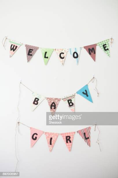 Welcome Baby Girl sign on wall