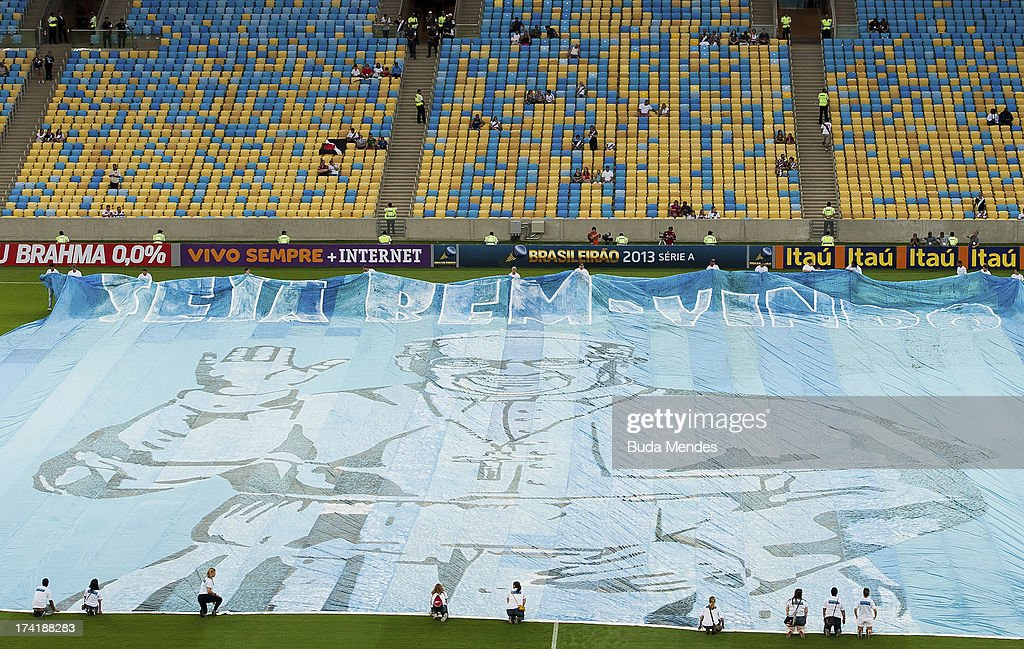 Welcome homage to Pope Francis prior to a match between Fluminense and Vasco as part of Brazilian Championship 2013 at Maracana Stadium on July 21, 2013 in Rio de Janeiro, Brazil.