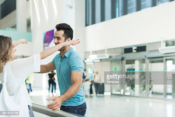 Welcome hug in the airport.