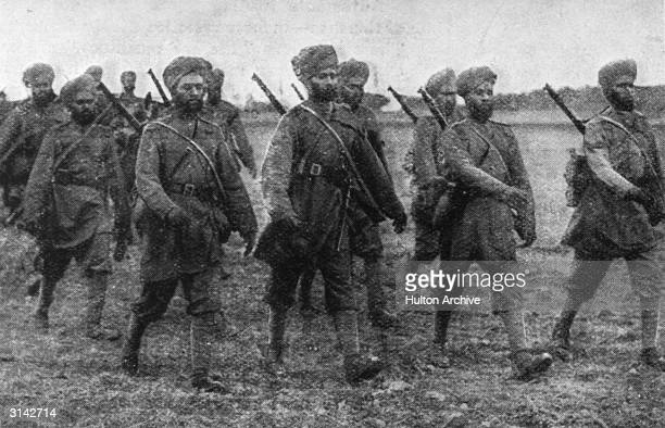 'Welcome Invaders of France' Sikh soldiers on the march in France at the start of World War I Original Publication The Graphic pub 1914