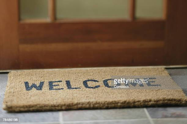 Welcome mat at door