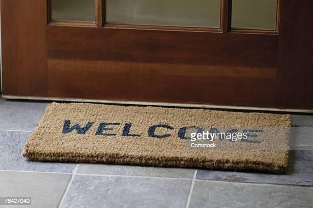 Welcome mat at front door