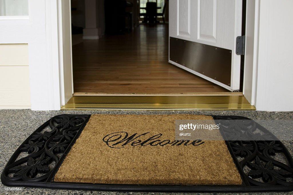Welcome mat entrance new home door wood floor clean inviting : Stock Photo & Welcome Mat Entrance New Home Door Wood Floor Clean Inviting Stock ... Pezcame.Com