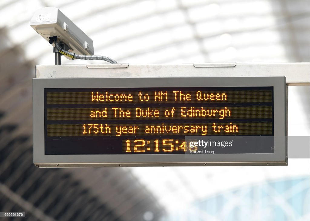 A welcome message displayed on an announcement screen ahead of the arrival of Queen Elizabeth II and Prince Philip, Duke of Edinburgh at Paddington Station mark the 175th anniversary of the first train journey by a British Monarch on June 13, 2017 in London, United Kingdom. The first journey was made by Queen Victoria on June 13th, 1842.