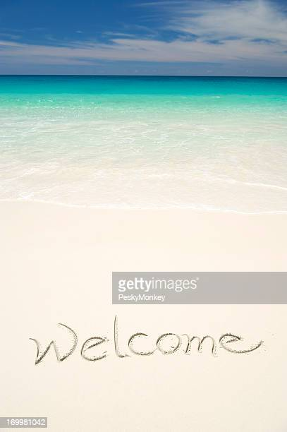 Welcome Message on Welcoming Tropical Beach