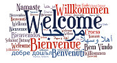 Welcome phrase in different languages. Words cloud concept. Multilingual in English, Arabic, Danish, French, Spanish, German, Greek, Hebrew, Italian, Russian, Welsh, Swedish, Polish, Malay, Indonesian