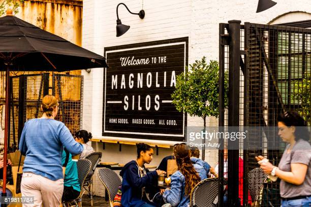WACO, TX, USA  MARCH 18, 2017: Welcome sign in seating area outside Silos Baking Company at Magnolia Silos.