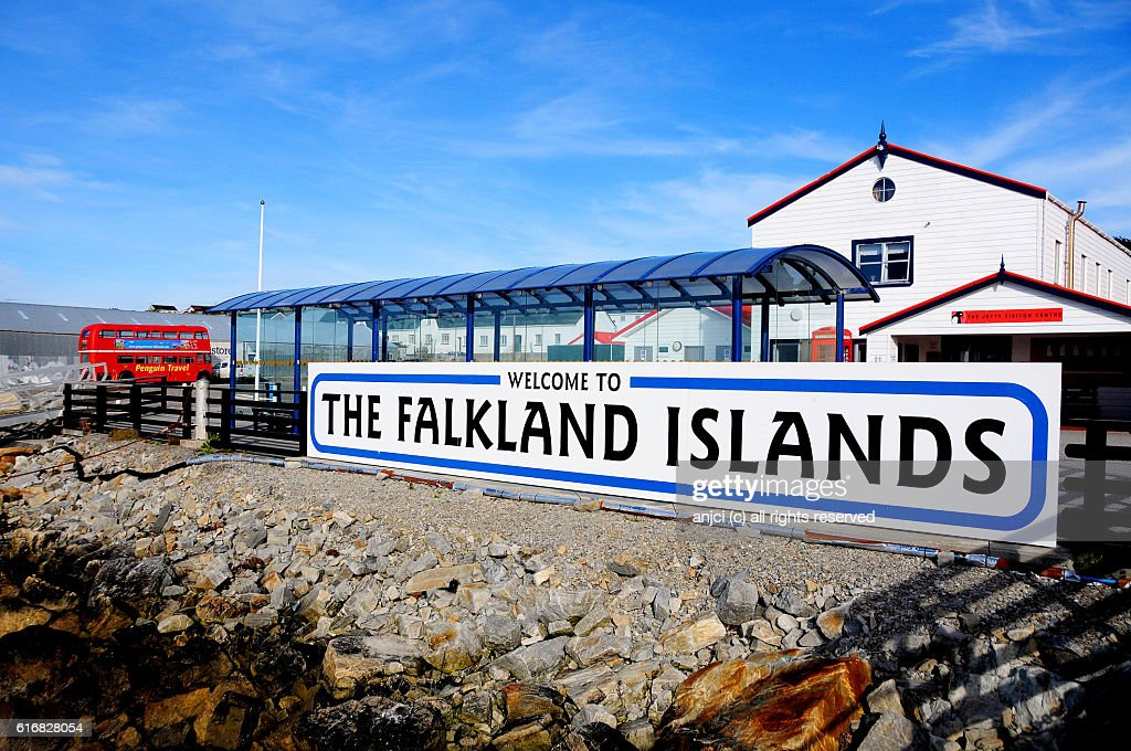 Welcome sign in the harbour of Stanley / Falkland Islands : Stock Photo