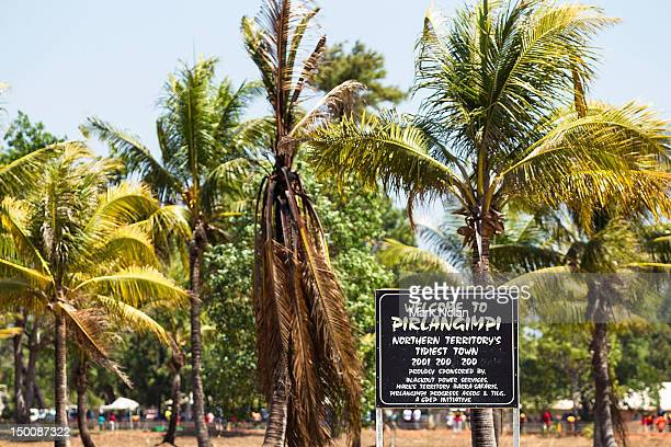A welcome sign is pictured during a visit to Pirlangimpi of the Tiwi Islands by the Australian cricket team on August 10 2012 on the Tiwi Islands...