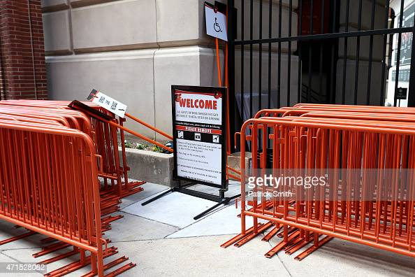 A welcome sign stands off to the side before the Baltimore Orioles play the Chicago White Sox at an empty Oriole Park at Camden Yards on April 29...