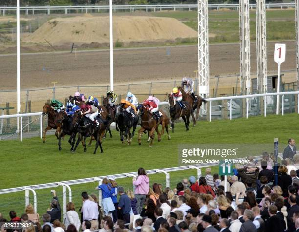 Welcome Stranger ridden by Luke Fletcher takes the lead at the one furlong mark to win The Nick Cheyne Farewell Stakes at Ascot Races