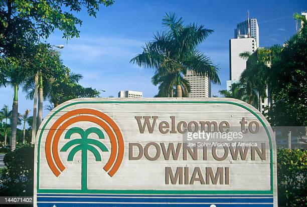 'Welcome to Downtown Miami' sign Miami Florida