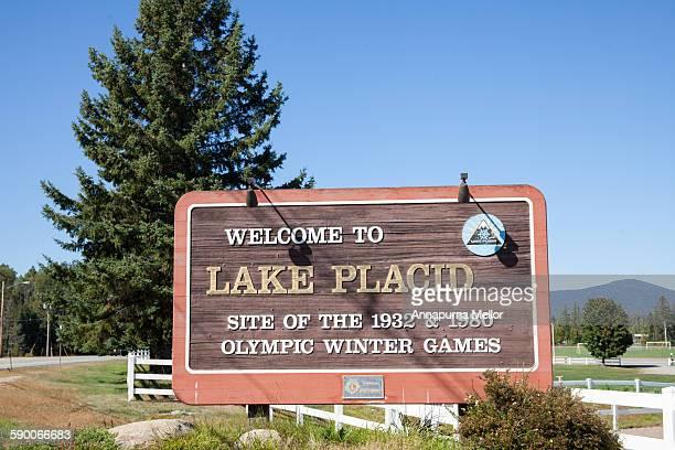Welcome to lake Placid signpost, Adirondacks