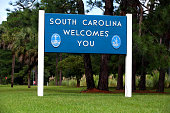 Welcome to South Carolina sign at the Georgia state line along U.S. Interstate 95.