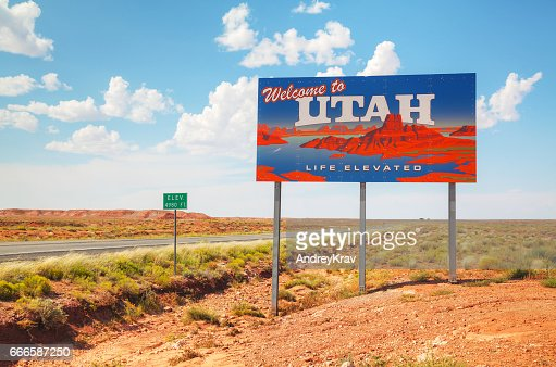 Welcome to Utah road sign : Stock Photo