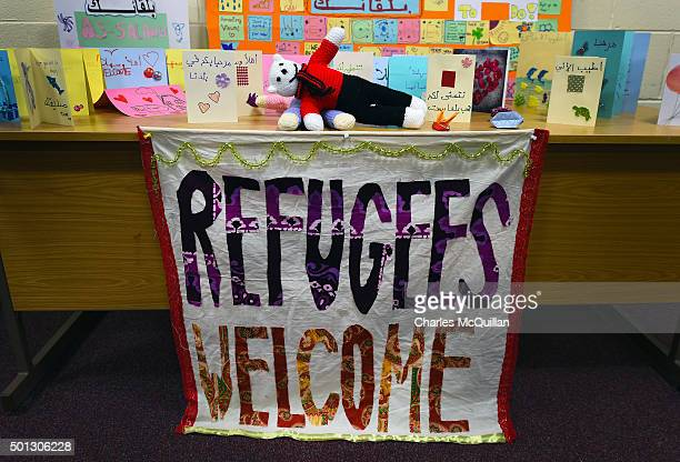 Welcoming cards and posters made by local children await Syrian refugees at an undisclosed location on December 14 2015 in Belfast Northern Ireland...