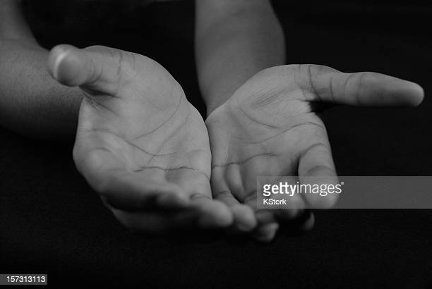 Welcoming Hands in Black and White