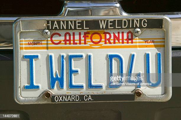 'I Weld For You' custom vanity California license plate