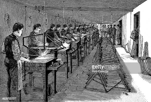 Welding bicycle frames in an American factory 1900