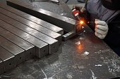 staff was welding stainless steel in the factory