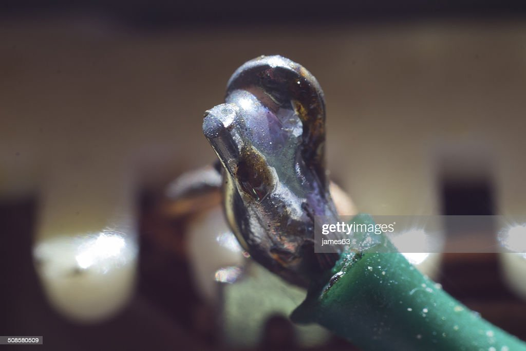 welds in colored wires macro : Stock Photo