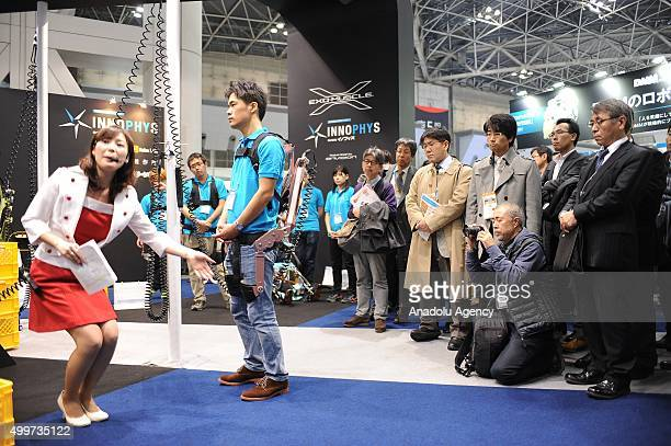 A welfare robot exoskeleton is seen during the international Robot exhibition 2015 at Tokyo Big Sight Japan on December 3 2015