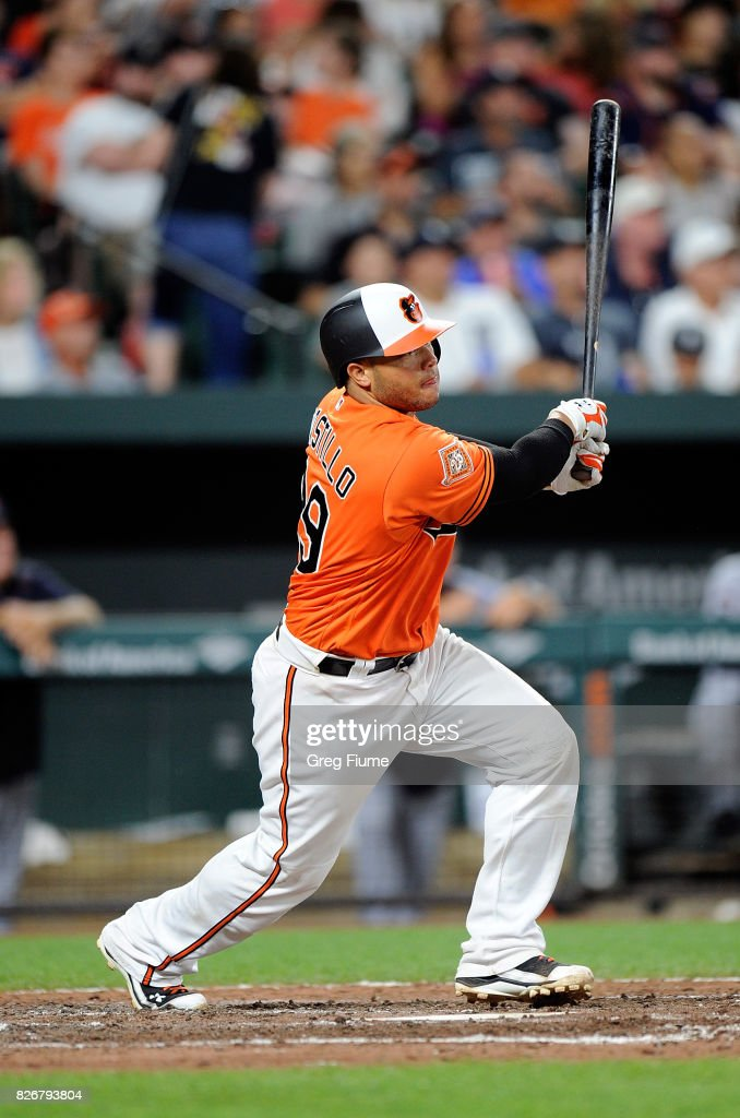 Welington Castillo #29 of the Baltimore Orioles hits a home run in the seventh inning against the Detroit Tigers at Oriole Park at Camden Yards on August 5, 2017 in Baltimore, Maryland.