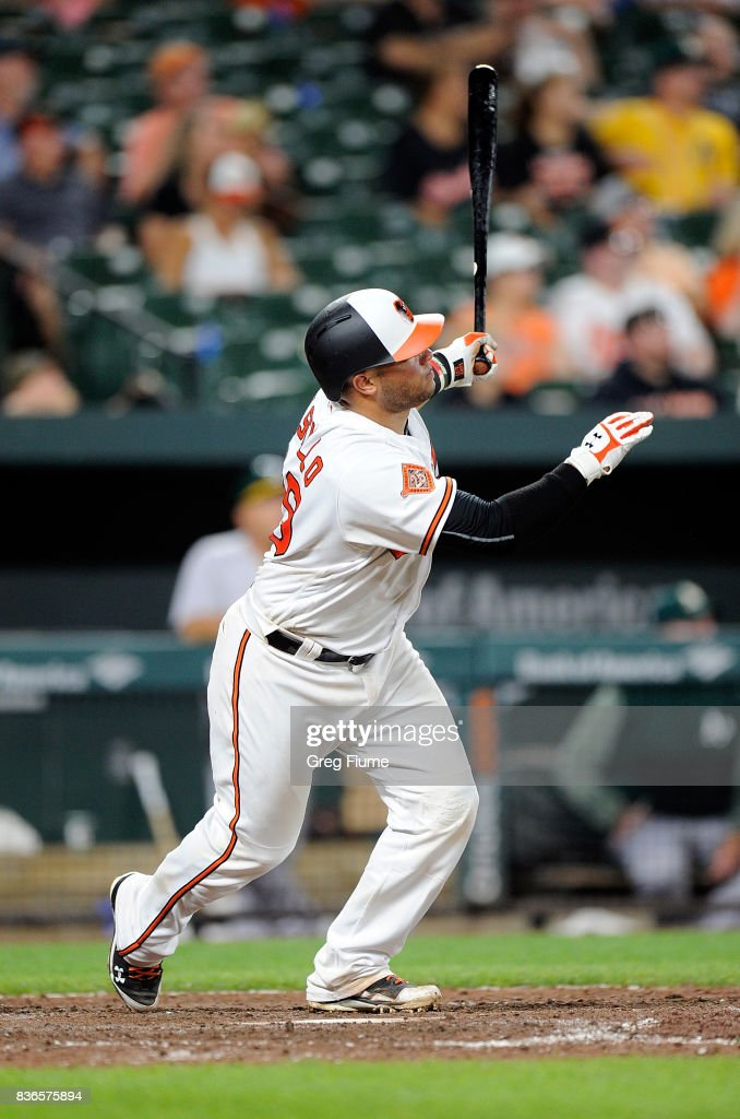 Welington Castillo #29 of the Baltimore Orioles hits a home run in the eighth inning against the Oakland Athletics at Oriole Park at Camden Yards on August 21, 2017 in Baltimore, Maryland.