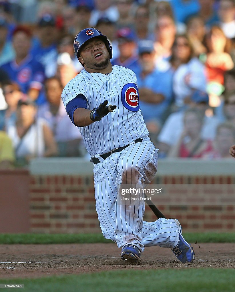 <a gi-track='captionPersonalityLinkClicked' href=/galleries/search?phrase=Welington+Castillo&family=editorial&specificpeople=4959193 ng-click='$event.stopPropagation()'>Welington Castillo</a> #53 of the Chicago Cubs drops to the ground after hitting a foul ball with the bases loaded in the 8th inning against the Los Angeles Dodgers at Wrigley Field on August 3, 2013 in Chicago, Illinois. The Dodgers defeated the Cubs 3-0.
