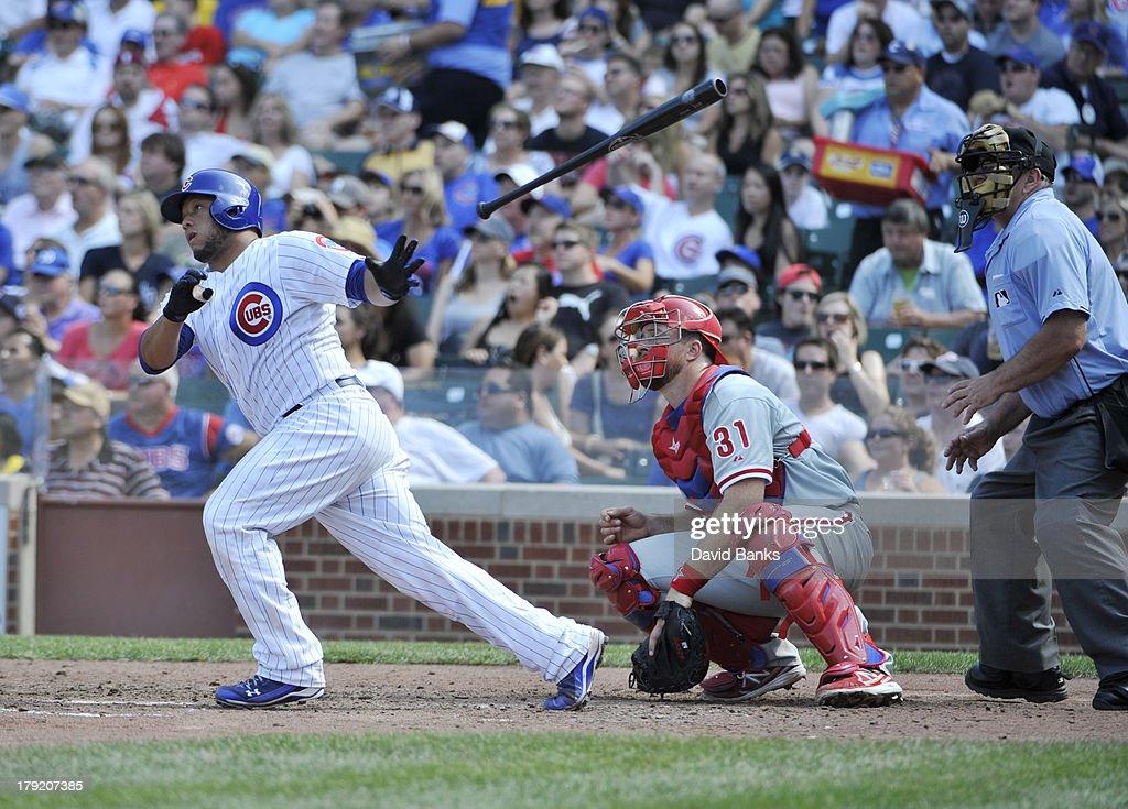 <a gi-track='captionPersonalityLinkClicked' href=/galleries/search?phrase=Welington+Castillo&family=editorial&specificpeople=4959193 ng-click='$event.stopPropagation()'>Welington Castillo</a> #53 of the Chicago Cubs hits a two-RBI double against the Philadelphia Phillies during the fourth inning on September 1, 2013 at Wrigley Field in Chicago, Illinois.