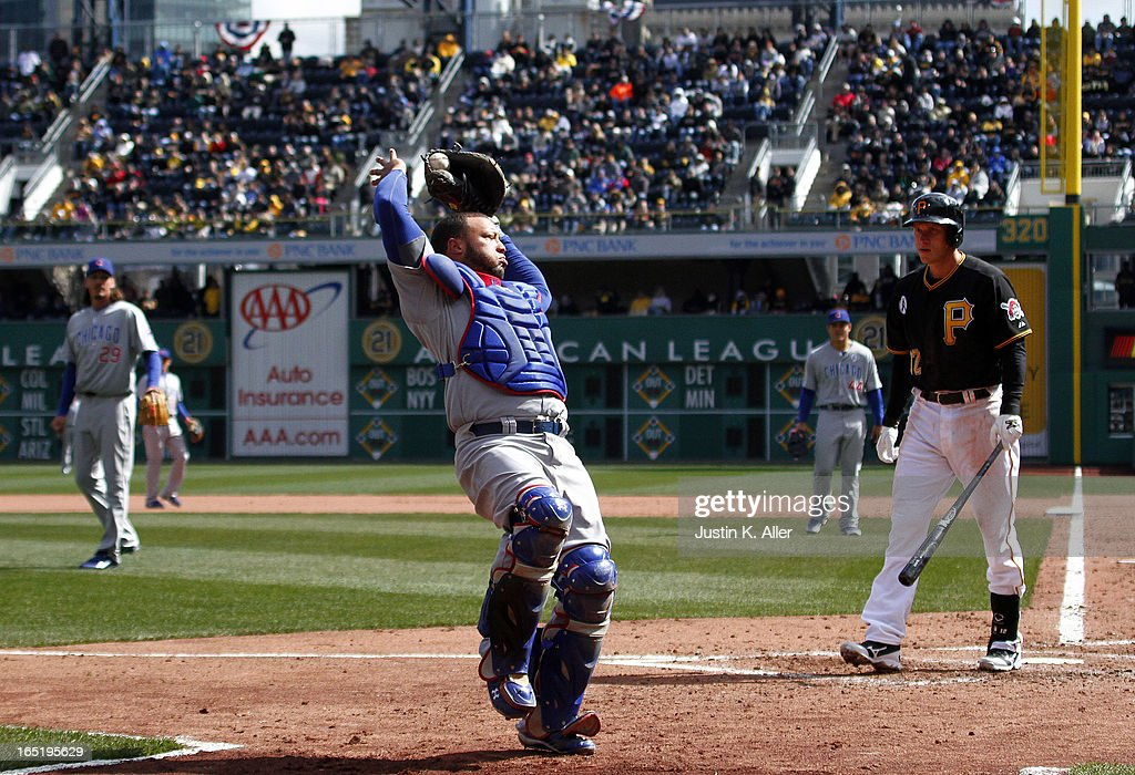<a gi-track='captionPersonalityLinkClicked' href=/galleries/search?phrase=Welington+Castillo&family=editorial&specificpeople=4959193 ng-click='$event.stopPropagation()'>Welington Castillo</a> #53 of the Chicago Cubs makes a catch in foul territory in the fifth inning against the Pittsburgh Pirates during the opening day game on April 1, 2013 at PNC Park in Pittsburgh, Pennsylvania. The Cubs defeated the Pirates 3-1.
