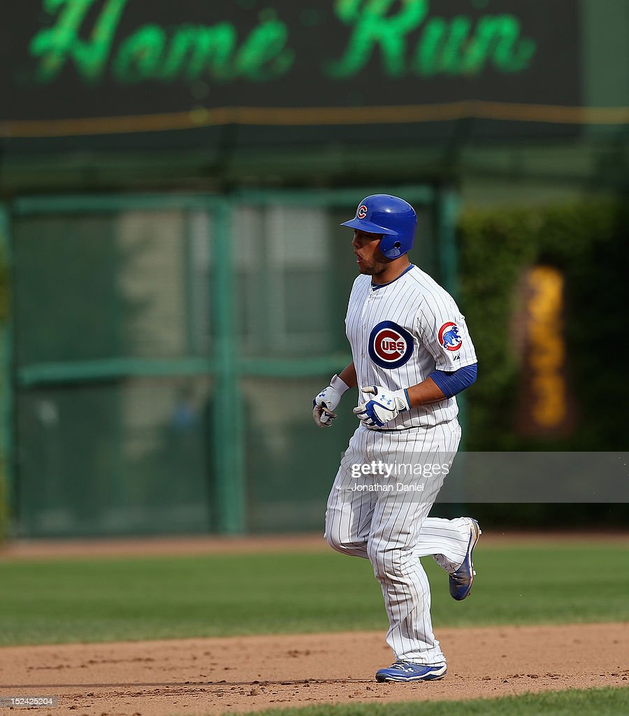 Welington Castillo #53 of the Chicago Cubs runs the bases after hitting a solo home run in the 8th inning against the Cincinnati Reds at Wrigley Field on September 20, 2012 in Chicago, Illinois. The Reds defeated the Cubs 5-3.
