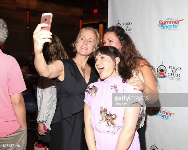 Welker White takes a selfie at the OffBroadway opening night party for 'SUMMER SHORTS 2017' at Fogo de Chao Churrascaria on August 7 2017 in New York...