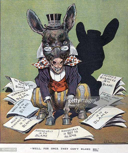 Well for once they can't blame me by JS Pughe 18701909 artist Published 1907 Illustration shows the Democratic donkey labelled 'Democratic Party'...