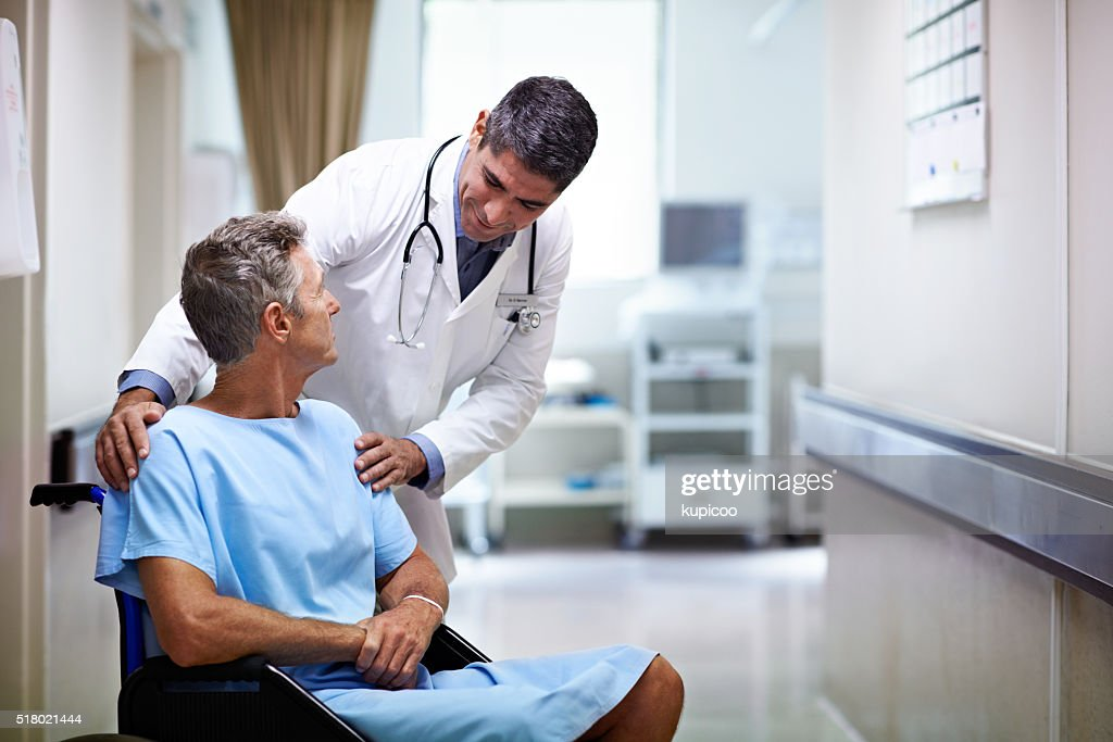 We'll have you discharged this afternoon! : Stock Photo
