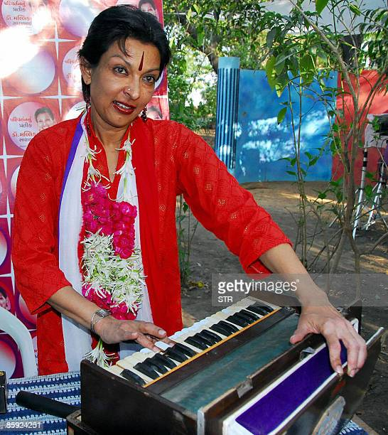 Well known danseuse Mallika Sarabhai plays the harmonium which is her symbol for the forthcoming elections in Ahmedabad on April 13 2009 Mallika has...