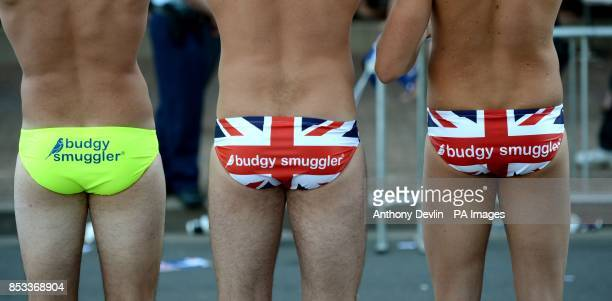 Well wishers wear small swimming trunks as the Duke and Duchess of Cambridge view a surf lifesaving display and meet volunteers at Manly Beach Sydney...