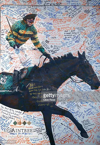 A well wishing wall for AP McCoy is seen on Ladies Day at Aintree Racecourse on April 10 2015 in Liverpool England