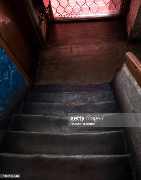Well worn staircase between floors at 'Pensao Amor' on July 14 2017 in Lisbon Portugal 'Pensao Amor' used to be a five floors brothel in Cais do...