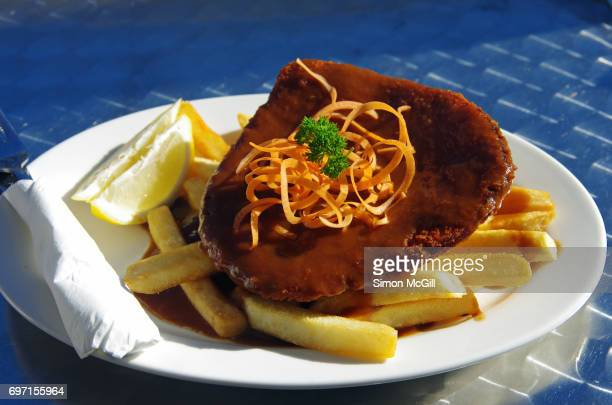 Well-cooked chicken schnitzel served with gravy and potato chips