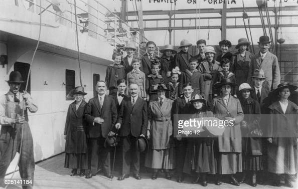 Welldressed family of 27 refugees posed on deck on their arrival in New York from Russia 16 September 1921