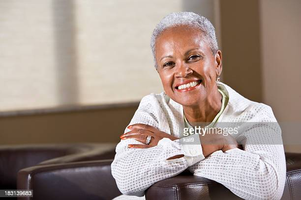 Well-dressed senior African American woman
