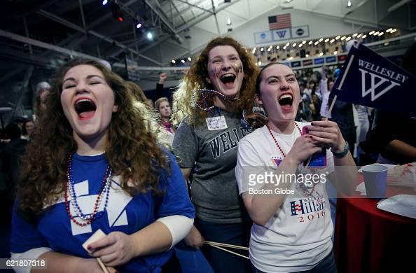 Wellesley College sophomores from left Emma Gellman Netanya Perluss and Aviva Feldman enjoy the election results in Hillary Clinton's favor at an...