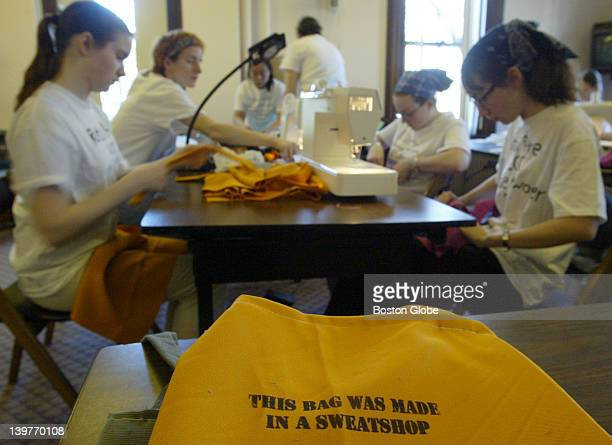 Wellesley College students participate in a simulated sweatshop at day long event on campus to help draw attention to the issue of sweatshop labor...