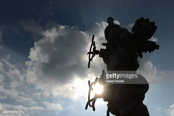 A wellhead stands in front of the Oil and Gas Museum on September 23 2014 in Twist Germany Germany produces approximately three million tons of...