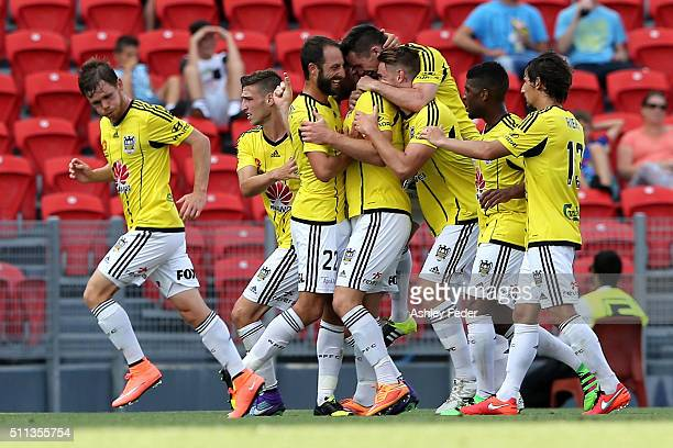 Welling Phoenix team mates celebrate a goal during the round 20 ALeague match between the Newcastle Jets and Wellington Phoenix at Hunter Stadium on...