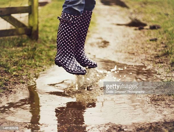 Wellington boots puddle jump