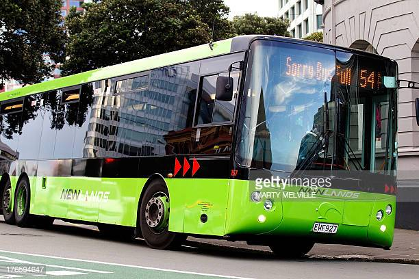 A Wellington bus shows a notice that it is filled to capacity as people flee the city after a 65 earthquake hit central New Zealand on August 16 2013...